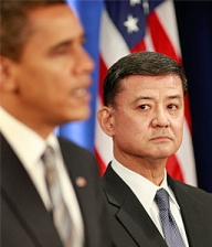 General Eric Shinseki looks on as President-elect Obama announces his choice to head the Department of Veterans Affairs.