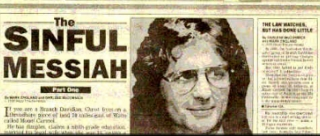 Waco Tribune-Herald headline for its 'Sinful Messiah' series, with a photo of Davidian leader David Koresh.