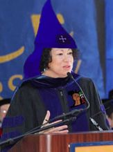 A doctored photo of Sotomayor issued by the Council of Conservative Citizens. The robe and hood have been added to the photo, as has the &#8216;raised-fist&#8217; logo.