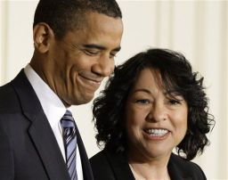 Barack Obama and Sonia Sotomayor during the nomination announcement.