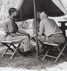 Sherwood F. Moran (right) interrogating a Japanese prisoner during the battle of Guadalcanal.