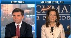 George Stephanopoulos interviews Michele Bachmann on ABC.