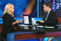 Betsy McCaughey is interviewed by Jon Stewart of &#8216;The Daily Show.&#8217;