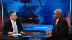 Jon Stewart and Larry Wilmore on The Daily Show.