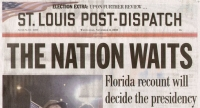 'Corrected' St. Louis Post-Dispatch from November 8 headline showing the uncertain state of the election.