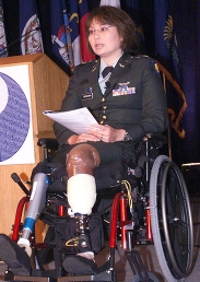 Tammy Duckworth narrates the 'Salute to Fallen Asian Pacific Islander Heroes' tribute at the Defense Department. Duckworth was born in Thailand and lived in Hawaii.