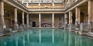 An ancient Roman bathhouse (thermae). The Baths of Diocletian could hold up to 3,000 bathers.