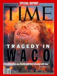 The May 3, 1993 cover of Time magazine featuring its special report on David Koresh and the Branch Davidians.