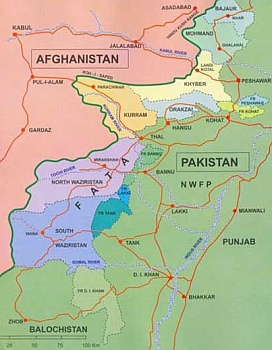 Pakistan's tribal region, shown in various colors, while the rest of Pakistan is in green. FATA stands for Federally Administered Tribal Areas, the bureaucratic name for the area.