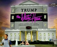 A joke image displayed during President Obama's address at the White House Correspondents Dinner, envisioning what the White House might look like if Donald Trump were to become president. The subheading on the photo reads 'Hotel - Casino - Golf Course - Presidential Suite.'