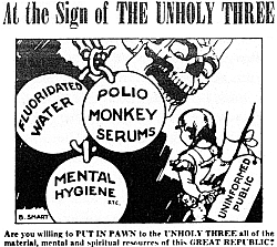 Portion of a 1955 cartoon warning against the evils of three government health programs, including water fluoridation.