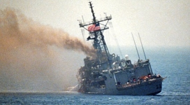 USS &#8216;Stark&#8217; after being struck by Iraqi missile.