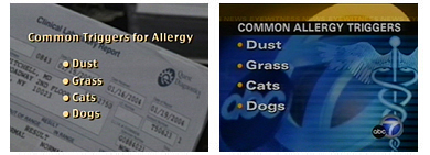 Stations such as Los Angeles's KABC-TV routinely re-edit graphics to fit their own formatting. The graphic on the left was part of a VNR produced by a private firm; on the right is KABC's edited graphic.