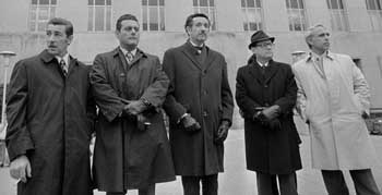 Virgilio Gonzalez, Frank Sturgis, former attorney Henry Rothblatt, Bernard Barker, and Eugenio Martinez, photographed during the trial.