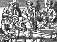 Woodcut depicting waterboarding included in J. Damhoudere&#8217;s &#8216;Praxis Rerum Criminalium,&#8217; Antwerp, 1556.