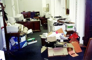 Bush officials release this photo as evidence of the 'systematic vandalism' performed by outgoing Clinton staffers in January 2001.