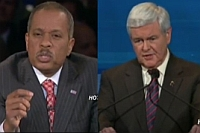 Juan Williams (left) and Newt Gingrich during the Republican presidential debate.