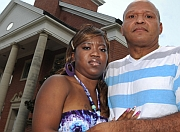 Charles and Te&#8217;Andrea Wilson in front of the First Baptist Church in Crystal Springs, Mississippi.