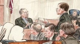 Post reporter Bob Woodward testifies, questioned by defense lawyer William Jeffress. Judge Reggie Walton, members of the jury (whose faces are not depicted in the artist's rendition), and members of the defense team look on.
