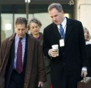 Peter Zeidenberg (left) and Patrick Fitzgerald outside the courthouse during the Libby trial.