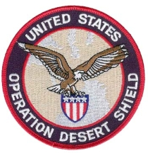 The US military's 'Desert Shield' logo.