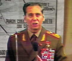 Soviet Marshal Nikolai Ogarkov gives a press conference regarding the KAL 007 shootdown.