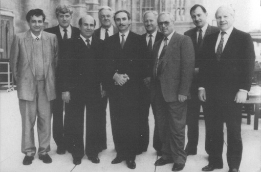 The Chechen delegation on the terrace at the House of Commons in London.