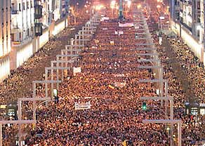 Massive demonstrations in Madrid on March 12, 2004.