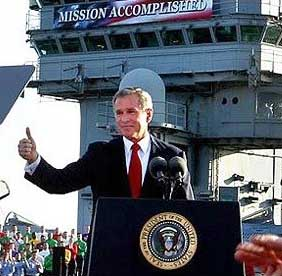 Bush on the USS Abraham Lincoln.