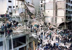 Wreckage of the AMIA Jewish community center in Buenos Aires, Argentina,