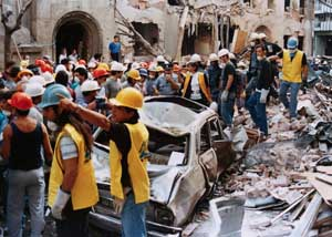 Rescue workers in the wreckage of the Israeli embassy in Buenos Aires.
