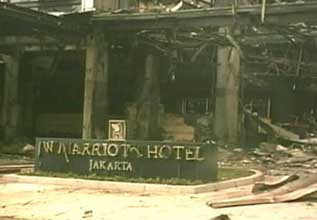 Damage to the front of the Marriott Hotel.
