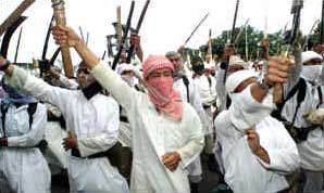 Members of the Laskar Jihad militia at a public rally.