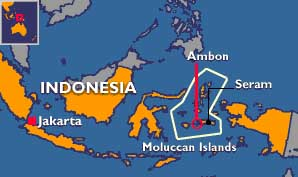 A map of Indonesia, with the Maluku islands highlighted.