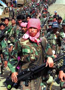 MILF forces on parade in Camp Abubakar, February 1999.
