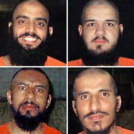 The Bagram escapees, clockwise from top left: Muhammad Jafar Jamal al-Kahtani, Abdullah Hashimi, Omar al-Faruq, and Sheikh Abu Yahia al-Libi.