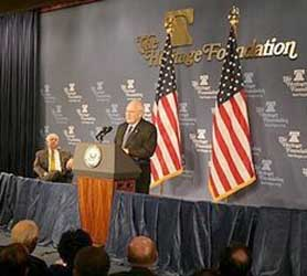 Vice President Cheney mentioned NSA intercepts of the 9/11 hijackers&#8217; calls in a speech to the Heritage Foundation.
