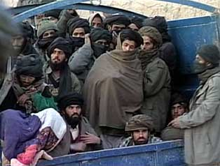 Taliban fighters being transported to Qala-i-Janghi fortress.
