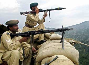 Members of the Frontier Corps near Shakai, in the region of South Waziristan, in August 2004.