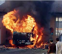 The bus that had been carrying ISI officials to work.