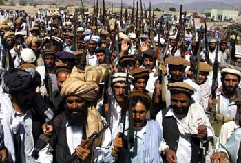 A meeting of tribesmen in Wana, South Waziristan, May 2004.