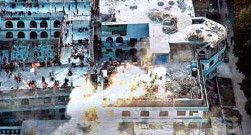 An explosion at the Red Mosque during the government raid.
