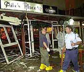 Bombing damage at Mike&#8217;s Place.