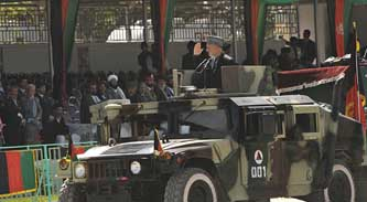 Hamid Karzai on parade, April 27, 2008.