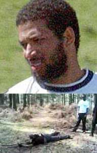 Top: training camp surveillance photo of Hussain Osman, one of the 'copycat' bombers. Bottom: training camp attendee practicing with a stick for a rifle.