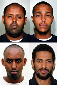 Clockwise, from top left: Muktar Ibrahim,  Ramzi Mohammed, Hussain Osman, and Yassin Omar.