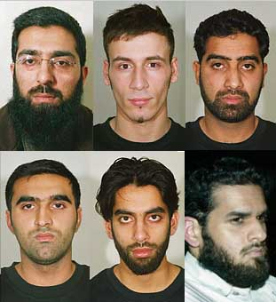 Six alleged members of the fertilizer bomb plot: Salahuddin Amin, Anthony Garcia, Waheed Mahmood,  Momin Khawaja, Jawad Akbar, and Omar Khyam.