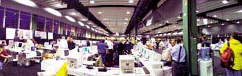 New York City's Emergency Operations Center (EOC) set up at Pier 92 on the Hudson River following the 9/11 attacks.