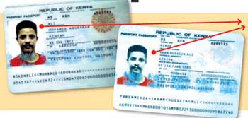 Pages from two passports seized in the raid. Both show pictures of Fazul but have different names.