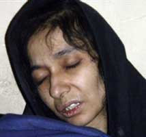 Aafia Siddique in Afghan custody on July 17, 2008.